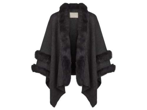 Helen Fox Fur Trim Poncho